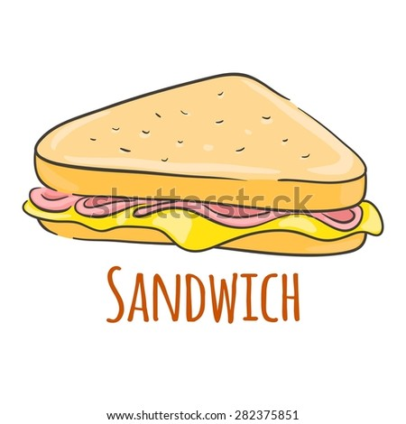 Sandwich with cheese and ham. - stock vector