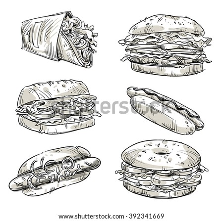 Sandwiches. Fast food. Snacks. Vector sketch.  - stock vector