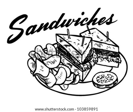 Sandwiches 2 - Retro Clipart Illustration - stock vector