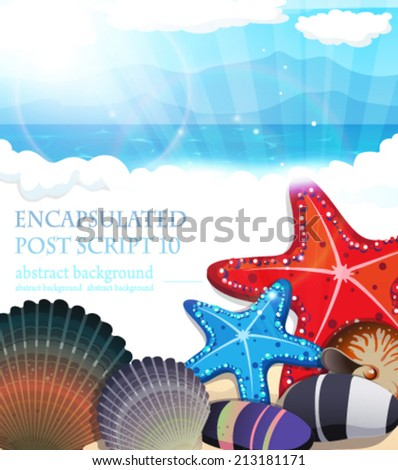 Sandy beach and ocean waves with starfish, shells and pebbles - stock vector