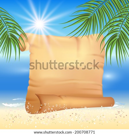 Sandy beach, sea, sun, palm trees and old papyrus for text