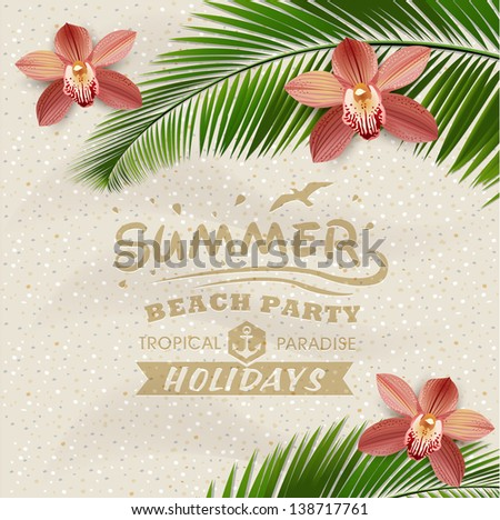 Sandy beach vector background with leaves of palm tree and orchid flower - stock vector