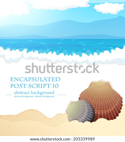 Sandy coast and foaming waves with seashells - stock vector