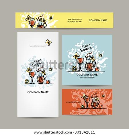 Sangria, spanish drink. Business cards design. Vector illustration - stock vector