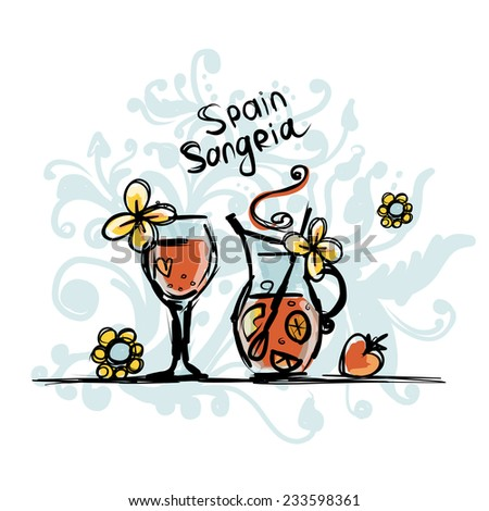Sangria, spanish drink. Sketch for your design - stock vector