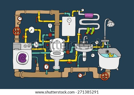 Sanitary engineering - stock vector
