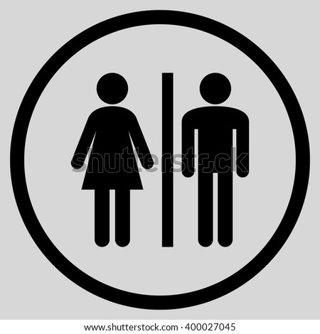 Sanitary Persons vector icon. Picture style is flat WC persons rounded icon drawn with black color on a light gray background.
