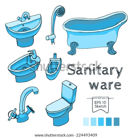 Sanitary ware set - stock vector