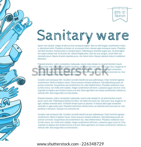 Sanitary ware | Sketch border - stock vector