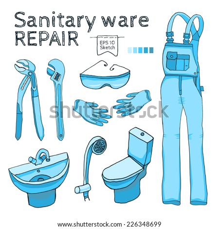 Sanitary ware | Sketch set - stock vector