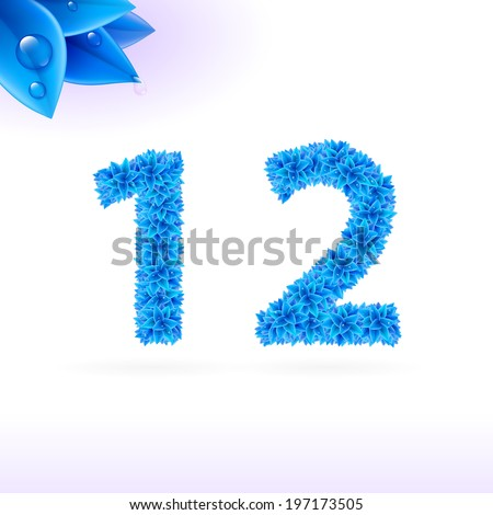 Sans serif font with blue leaf decoration on white background. 1 and 2 numerals