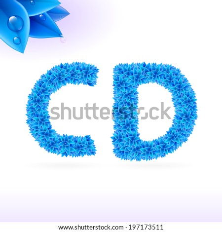 Sans serif font with blue leaf decoration on white background. C and D letters