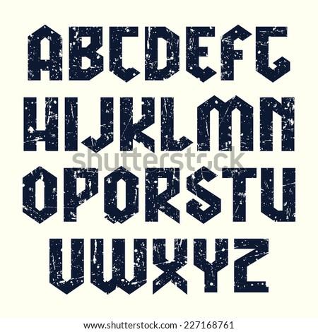 Sanserif blackletter font. Black font on light background - stock vector