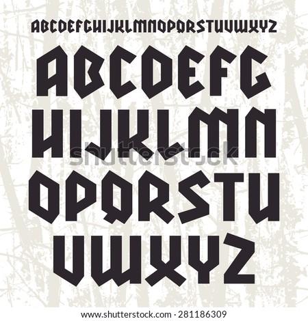 Sanserif blackletter font. Black font on light texture background - stock vector