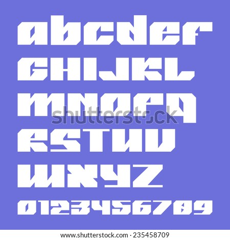 Sanserif bold font and numbers in geometric style - stock vector
