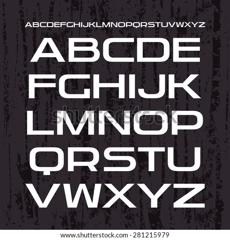 Sanserif font in retro racing style. White print on dark texture background