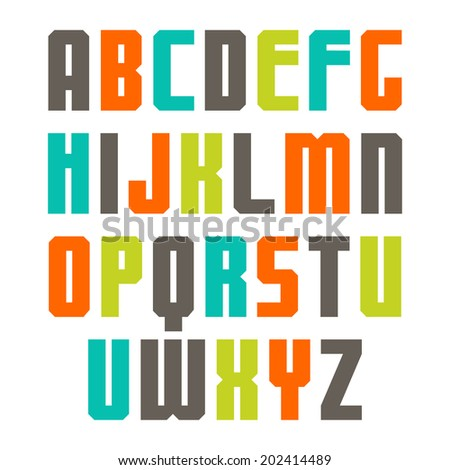 Sanserif font with colorful letters - stock vector