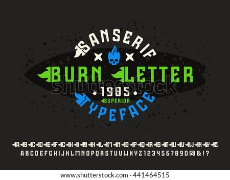Sanserif font with flame initial letter. Typeface design for t-shirt. Color print on black background - stock vector