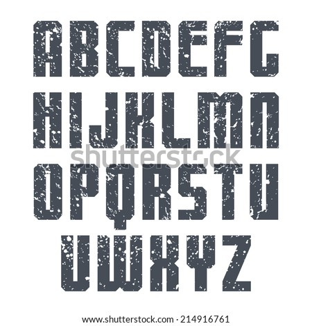Sanserif font  with shabby texture. Black on white background - stock vector