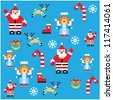 Santa and angels pixel characters christmas design. Seamless pattern background vector illustration. - stock vector
