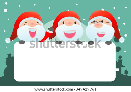 santa and greeting Christmas and New Year card, santa claus peeping behind placard, kids in santa claus costume characters celebrate, Cute little christmas  collection, happy new year, Vector  - stock vector