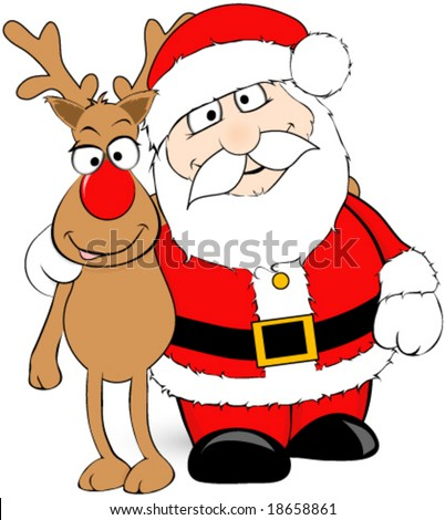 Santa and his reindeer vector. - stock vector