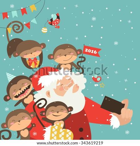 Santa and monkeys take a selfie. Vector illustration - stock vector