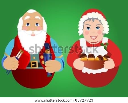 Santa and Mrs.Claus ornaments or Icons - stock vector
