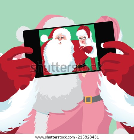 Santa and Mrs. Claus selfie EPS 10 vector - stock vector