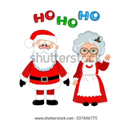 Santa and Mrs Claus standing Christmas. - stock vector