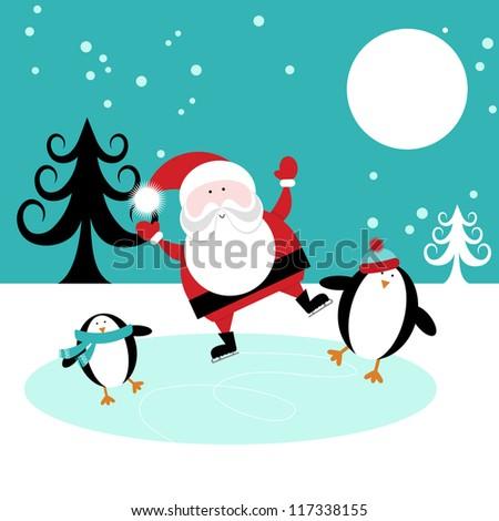 Santa and Penguins Skating on Ice - stock vector