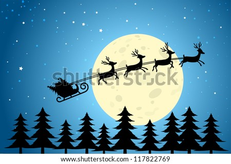 Santa and Reindeer Flying Through a Christmas Night, EPS10 Vector - stock vector