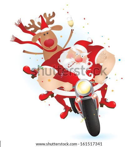 Santa and reindeer on the bike eps10 - stock vector