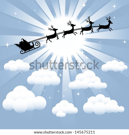 Santa and reindeer silhouette flying through the sky - stock vector