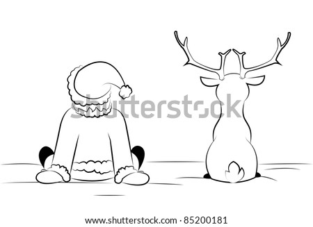santa and reindeer sitting in the snow - stock vector