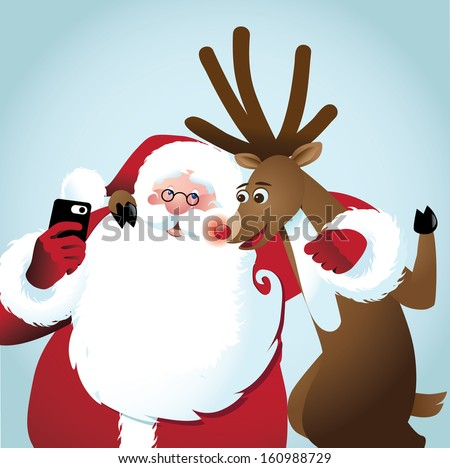 Santa and reindeer take a selfie. EPS 10 vector, grouped for easy editing. No open shapes or paths. - stock vector