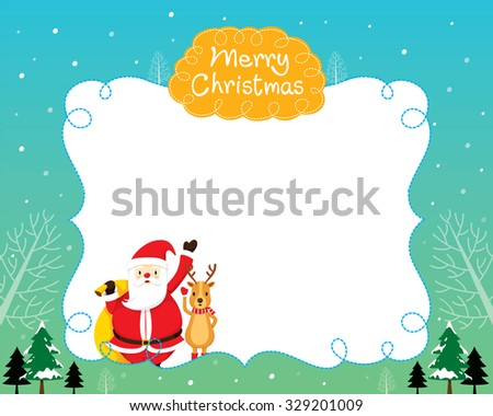 Santa And Reindeer With Christmas Tree and Snow Falling Border, Merry Christmas, Xmas, Happy New Year, Objects, Animals, Festive, Celebrations - stock vector