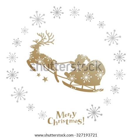 Santa and reindeer with snowflakes frame - stock vector