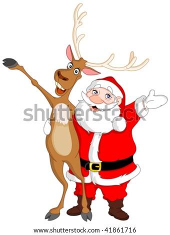 Santa and Rudolph - stock vector