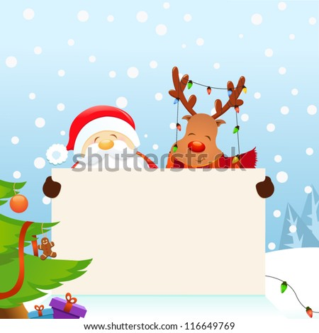 Santa and Rudolph's Christmas Message - stock vector