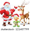 Santa and sidekicks - stock vector
