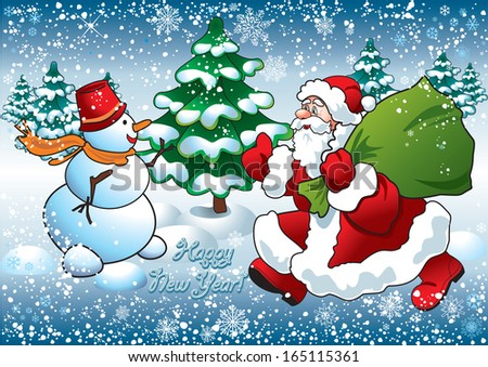 santa and snowman greeting christmas card - stock vector