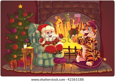 Santa and Tiger. Greeting card with symbols of Christmas and New Year - stock vector