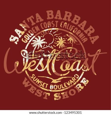 West coast stock images royalty free images vectors for T shirt printing santa barbara