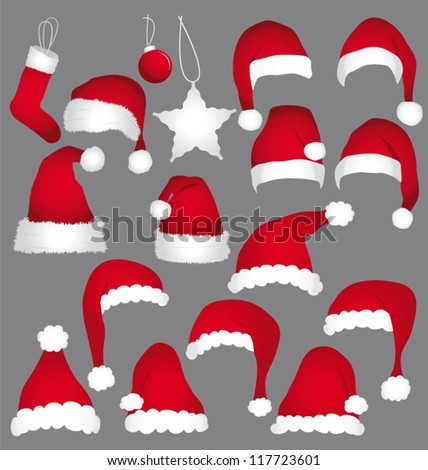 Santa caps isolated on grey background. Vector holidays icons collection.