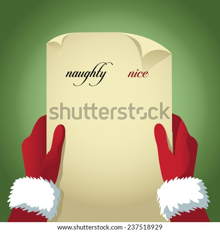 Santa checking his naughty and nice list. With space for your copy. EPS 10 vector stock illustration - stock vector