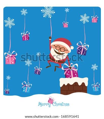 Santa & Chimney & Christmas Gifts - stock vector