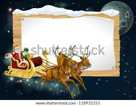 Santa Christmas sleigh background with Santa riding in his sleigh delivering Christmas gifts - stock vector