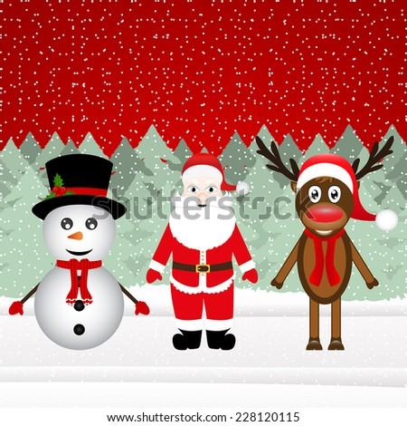 Santa Claus, a reindeer and a snowman in the Christmas forest  - stock vector