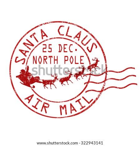 Santa Claus Air Mail Grunge Rubber Stock Vector 322943141